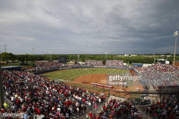 The UCLA Bruins take on the Oklahoma Sooners during the Division I Women's Softball Championship held at ASA Hall of Fame StadiumOGE Energy Field on...