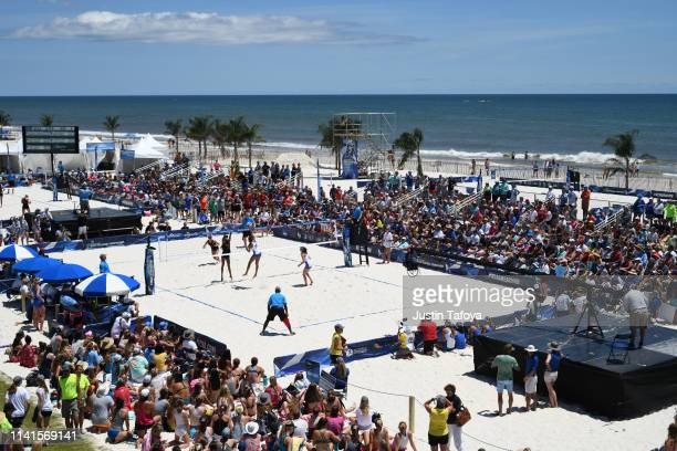 The UCLA Bruins take on the USC Trojans during the Division I Women's Beach Volleyball Championship held at the Gulf Shores Public Beach on May 5...