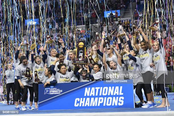 The UCLA gymnastics team celebrates after winning the NCAA Women's Gymnastics National Championship on April 21 at Chaifetz Arena St Louis MO