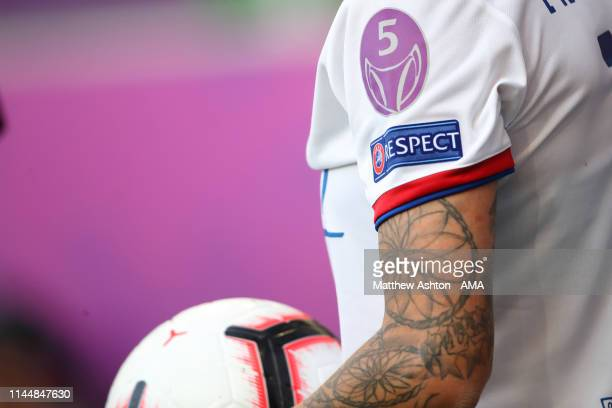 The UEFA badge commemorating five Champions League titles on a Olympique Lyonnais shirt during the UEFA Women's Champions League Final between...