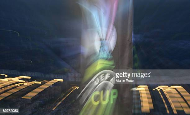 The UEFA banner pictured prior the UEFA Cup quarter final first leg match between HSV Hamburg and Manchester City at the HSH Nordbank Arena on April...