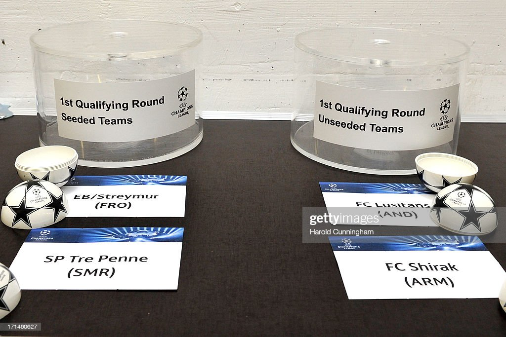 The UEFA Champions League 1st qualifying round balls are prepared backstage prior to the UEFA Champions League Q1 and Q2 qualifying rounds draw at the UEFA headquarters on June 24, 2013 in Nyon, Switzerland.