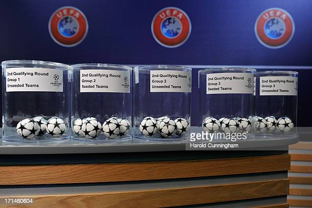 The UEFA Champions League 2nd qualifying round balls arrive in the draw room ahead to the UEFA Champions League Q1 and Q2 qualifying rounds draw at...