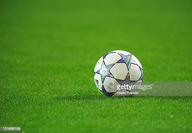 The UEFA Champions league ball during the UEFA Champions League group F match between Borussia Dortmund and Olympiacos FC at Signal Iduna Park on...