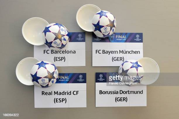 The UEFA Champions League draw balls are prepared backstage ahead of the UEFA Champions League semi-final draws at the UEFA headquarters on April 12,...