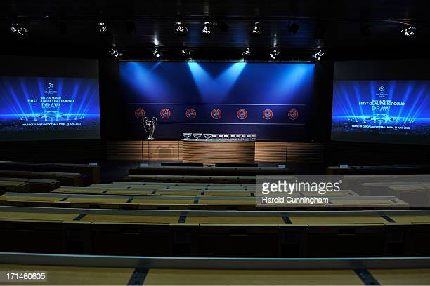 The UEFA Champions League draw room ahead to the UEFA Champions League Q1 and Q2 qualifying rounds draw at the UEFA headquarters on June 24, 2013 in...