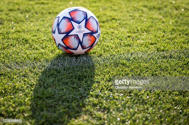 October 19: The UEFA Champions League is seen during a training session of Borussia Moenchengladbach at Borussia-Park on October 19, 2020 in...