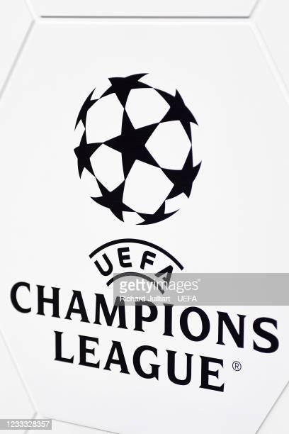 The UEFA Champions League logo during the UEFA Champions League 2021/22 Preliminary Round draw at the UEFA headquarters, The House of European...