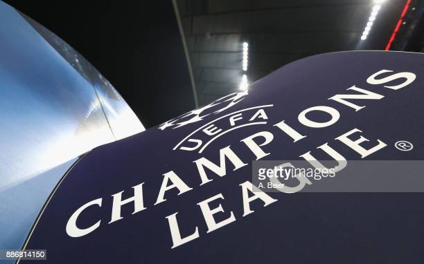 The UEFA Champions League logo is pictured before the UEFA Champions League group B match between Bayern Muenchen and Paris SaintGermain at Allianz...