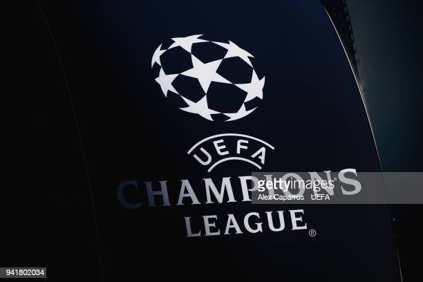 The UEFA Champions League logo is seen in the Camp Nou stadium ahead of the UEFA Champions League Quarter Final Leg One match between FC Barcelona...