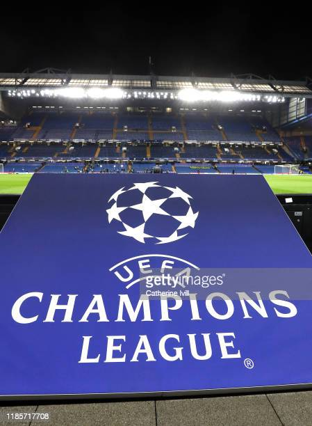 The UEFA Champions League logo is seen inside the stadium prior to the UEFA Champions League group H match between Chelsea FC and AFC Ajax at...