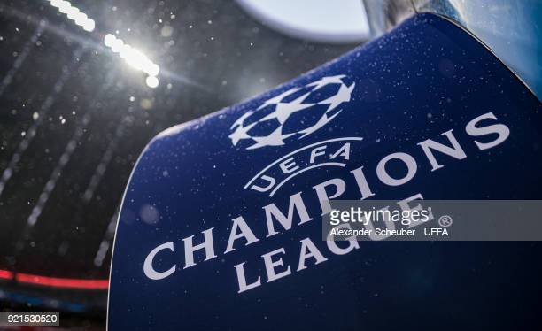The UEFA Champions League logo is seen prior to the UEFA Champions League Round of 16 First Leg match between Bayern Muenchen and Besiktas at Allianz...