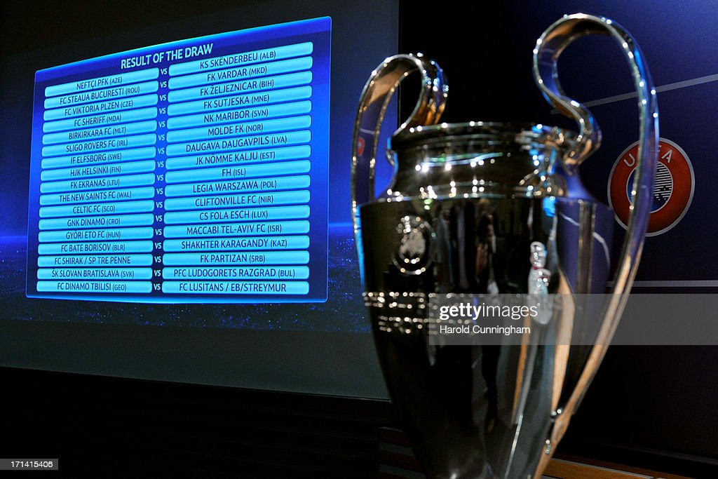 The UEFA Champions League qualifying round draw results are seen at the UEFA headquarters on June 24, 2013 in Nyon, Switzerland.