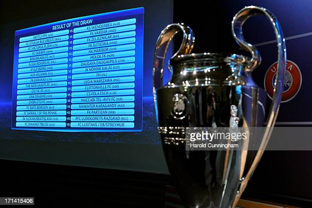 The UEFA Champions League qualifying round draw results are seen at the UEFA headquarters on June 24 2013 in Nyon Switzerland