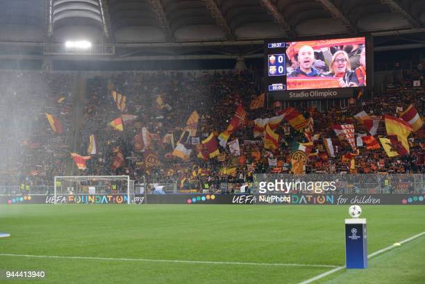 the UEFA Champions League quarter final match between AS Roma and FC Barcelona at the Olympic stadium on April 10 2018 in Rome Italy