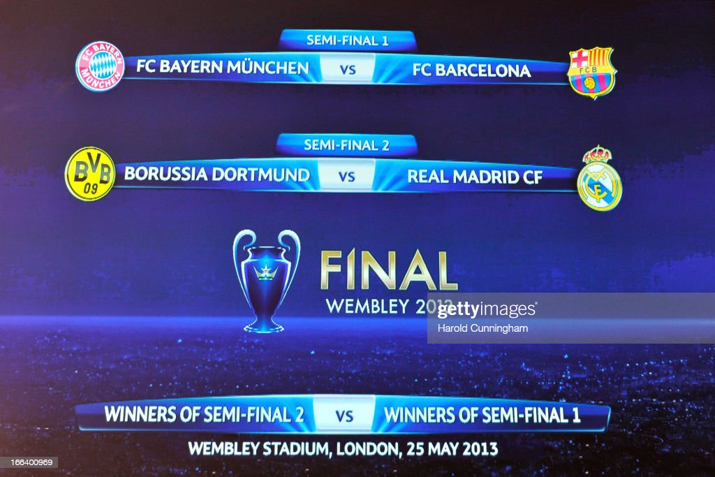 The UEFA Champions League semi-final and final draws results are displayed at the UEFA headquarters on April 12, 2013 in Nyon, Switzerland.
