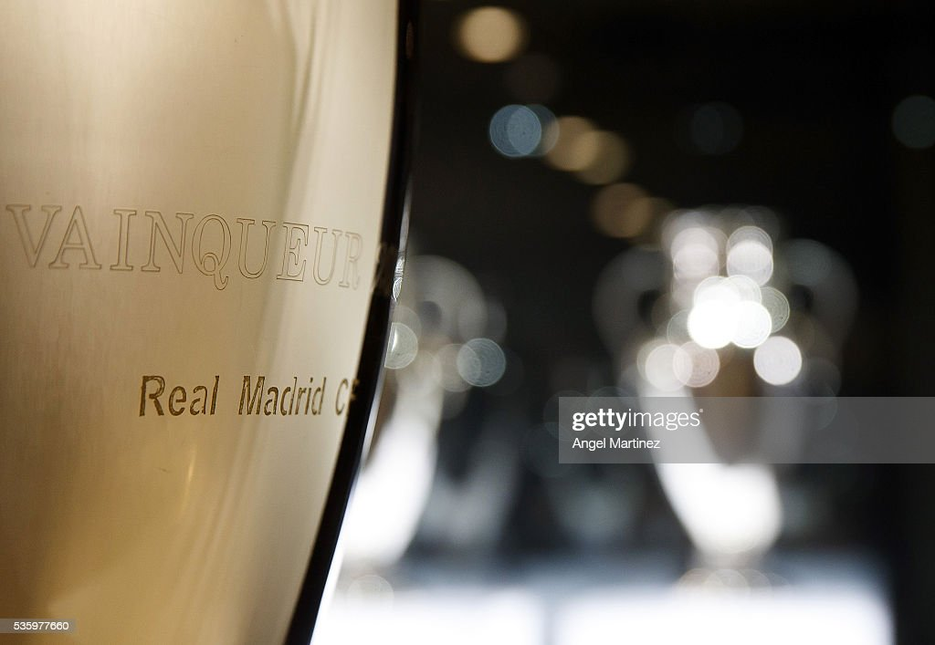 The UEFA Champions League trophies are displayed in Real Madrid museum at Estadio Santiago Bernabeu on May 31, 2016 in Madrid, Spain.