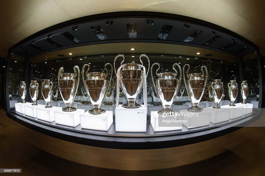 Real Madrid Display Their Champions League Trophies : News Photo