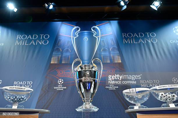 The UEFA Champions league trophy is displayed ahead of the draw for the UEFA Champions league round of sixteen on December 14 2015 at the European...