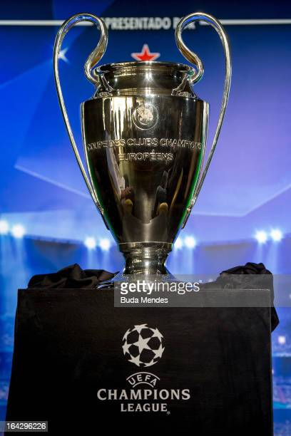 The UEFA Champions League trophy is displayed during a press conference as part of the UEFA Champions League Trophy Tour 2013 at Casa Miranda on...