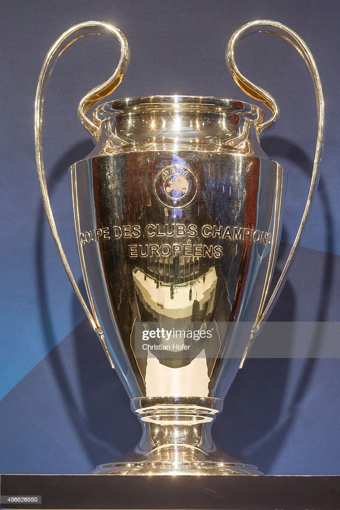 The UEFA Champions League Trophy is displayed during the ...