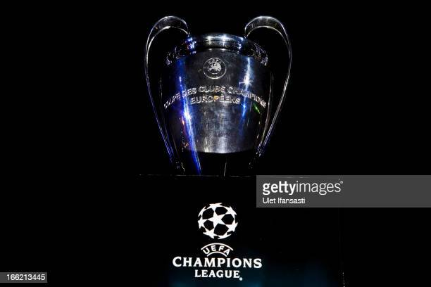 The UEFA Champions League trophy is displayed during the trophy unveiling as part of the UEFA Champions League Trophy Tour 2013 presented by Heineken...