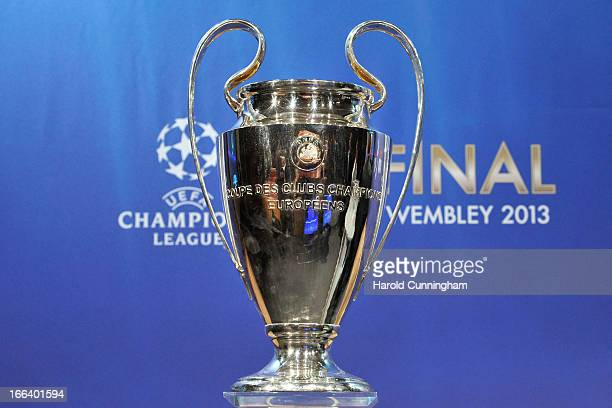 The UEFA Champions League trophy is displayed during the UEFA Champions League semifinal and final draws at the UEFA headquarters on April 12 2013 in...