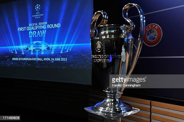 The UEFA Champions League trophy is displayed in the draw room ahead to the UEFA Champions League Q1 and Q2 qualifying rounds draw at the UEFA...