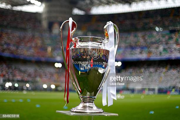 The UEFA Champions League trophy is displayed prior to the UEFA Champions League Final match between Real Madrid and Club Atletico de Madrid at...