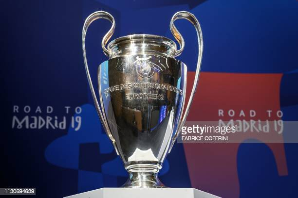 The UEFA Champions league trophy is exhibited ahead of the draw for the Champions league quarterfinal draw on March 15 2019 at the House of European...