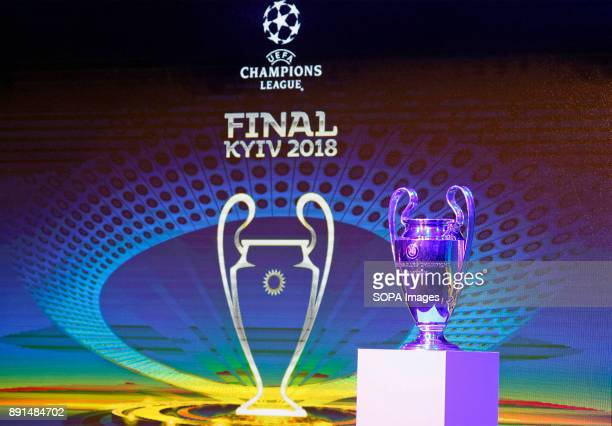 The UEFA Champions League trophy is pictured during the unveiling ceremony of the logo of the 2018 UEFA Champions League final soccer match The UEFA...