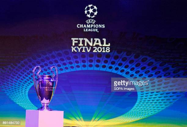 The UEFA Champions League trophy is pictured during the unveiling ceremony of the logo of the 2018 UEFA Champions League final soccer matchThe UEFA...