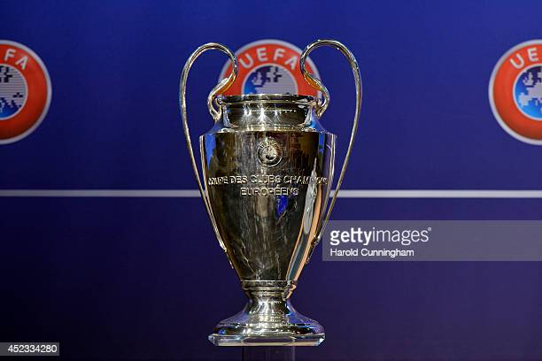 The UEFA Champions League trophy is prepared for the UEFA 2014/15 Champions League third qualifying rounds draw at the UEFA headquarters, The House...