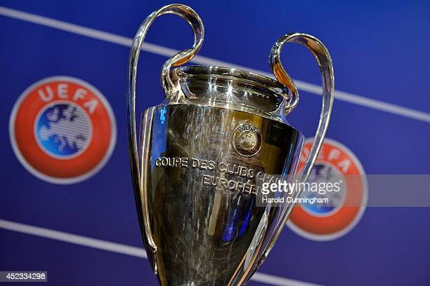 The UEFA Champions League trophy is prepared for the UEFA 2014/15 Champions League third qualifying rounds draw at the UEFA headquarters The House of...