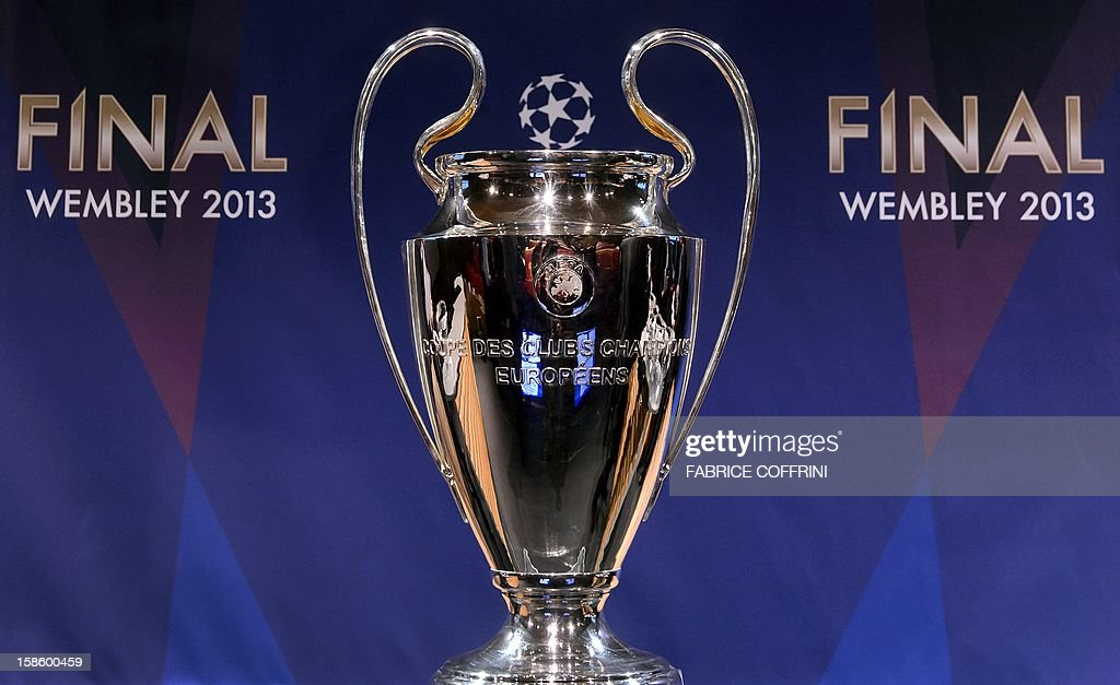 The UEFA Champions League Trophy Is Seen After Draw For Last 16 Of
