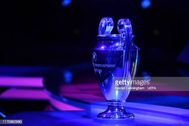 The UEFA Champions League trophy is seen during the UEFA Champions League Draw, part of the UEFA European Club Football Season Kick-Off 2019/2020 at...