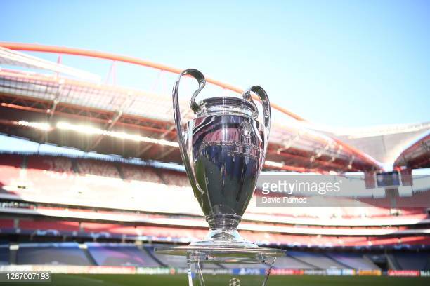 The UEFA Champions League Trophy is seen pitch side prior to the UEFA Champions League Semi Final match between RB Leipzig and Paris Saint-Germain...