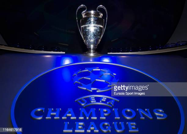 The UEFA Champions League trophy is seen prior to the UEFA Champions League Draw, part of the UEFA European Club Football Season Kick-Off 2019/2020...