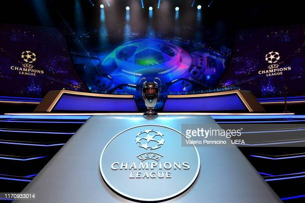 The UEFA Champions League trophy is seen prior to the UEFA Champions League Draw part of the UEFA European Club Football Season KickOff 2019/2020 at...