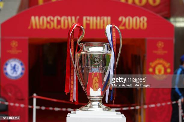 The UEFA Champions League Trophy on display ahead of the UEFA Champions League Final between Manchester United and Chelsea at the Luzhniki Stadium...