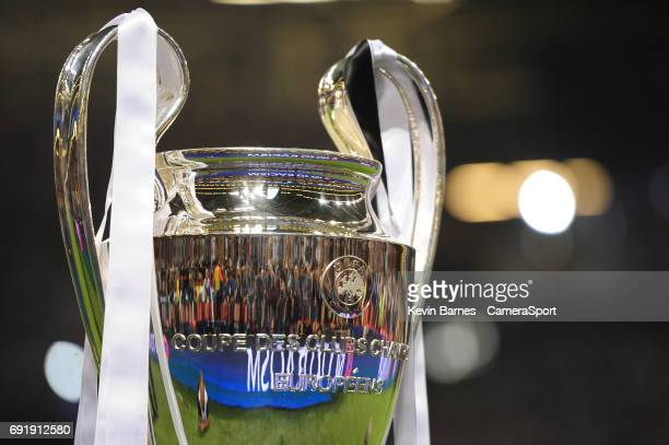 The UEFA Champions League trophy on display before the match during the UEFA Champions League Final match between Juventus and Real Madrid at...