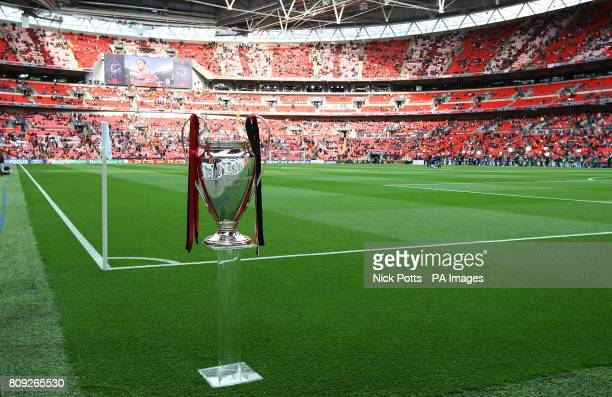 The UEFA Champions League trophy on display pitchside prior to kick-off