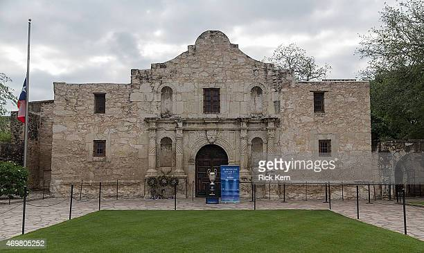 The UEFA Champions League Trophy Tour presented by Heineken at the Alamo on April 15 2015 in San Antonio Texas