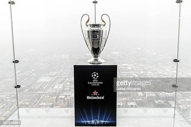 The UEFA Champions League Trophy Tour presented by Heineken at Willis Tower Skydeck on March 25 2015 in Chicago Illinois