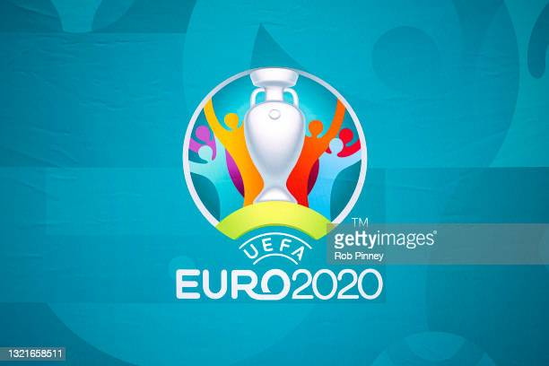 The UEFA Euro 2020 logo is seen at an event outside King's Cross Railway Station as the UEFA Euro 2020 trophy arrives in London 04, 2021 in London,...