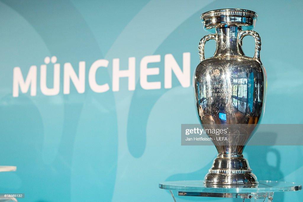 The UEFA Euro 2020 trophy is seen during UEFA Euro Munich ...