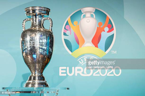 The UEFA Euro 2020 trophy is seen during UEFA Euro Munich 2020 Official Logo Presentation on October 27 2016 in Munich Germany