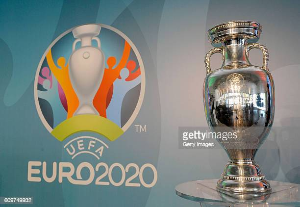 The UEFA Euro 2020 trophy is seen during UEFA Euro Roma 2020 Official Logo Unveiling on September 22 2016 in Rome Italy