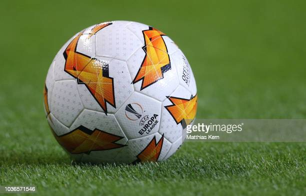 The UEFA Europa League ball is pictured prior to the UEFA Europa League Group B match between RB Leipzig and FC Salzburg at Red Bull Arena on...