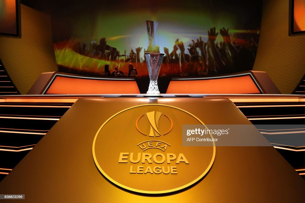 The UEFA Europa League Cup Trophy is displayed during the draw for the UEFA Europa League football group stage 2017/18, on August 25, 2017 in Monaco. /